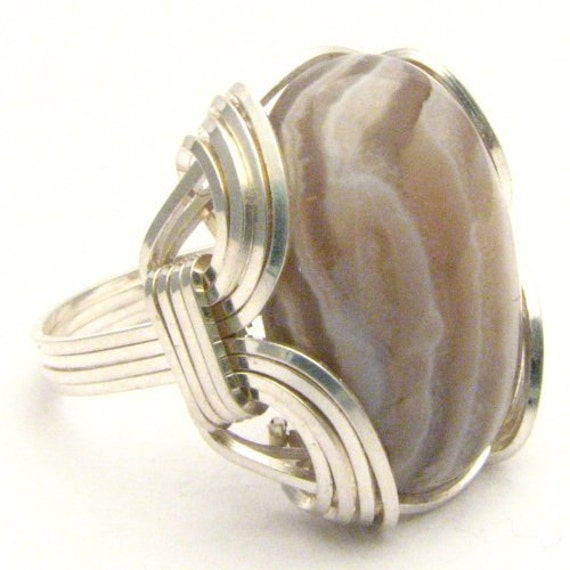 Handmade Sterling Silver Wire Wrap Botswana Agate Gemstone Ring