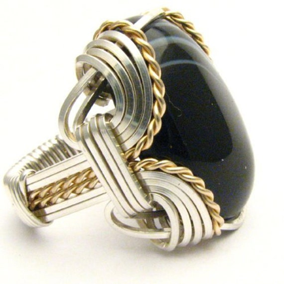 Handmade Wire Wrap Two Tone Sterling Silver/14kt Gold Filled Striped Onyx Cabochon Ring