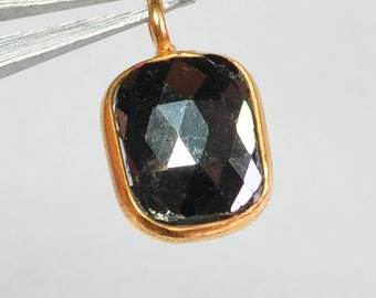 14K Solid Yellow Gold Rough Faceted Diamond Charm Pendant