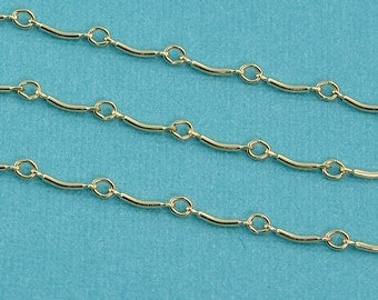 14k Gold Filled Bulk Fancy Chain 8mmx1.5mm link By The Foot