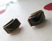 CUFF LINKS VINTAGE Stone Brown Gold Bond Style
