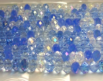 8mm Rondelle Bead Strand 36pcs Chinese Glass Crystal Multi Blue Opaque and Clear Mix with AB strand Jewelry Jewellery Craft Supplies