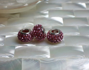 3 Big Hole Pink Rhinestone Spacer Pave Beads, Rondelles, Fits European style Bracelets, Basketball wives earrings