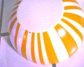 Rare Cathrineholm Orange & White Stripe Enamelware Bowl