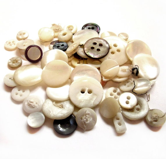 Vintage Shell Buttons, 64 Antique Mother of Pearl Buttons