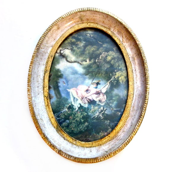 Vintage Florentine Art, Gold Gilt Wood, Victorian Print Wall Hanging