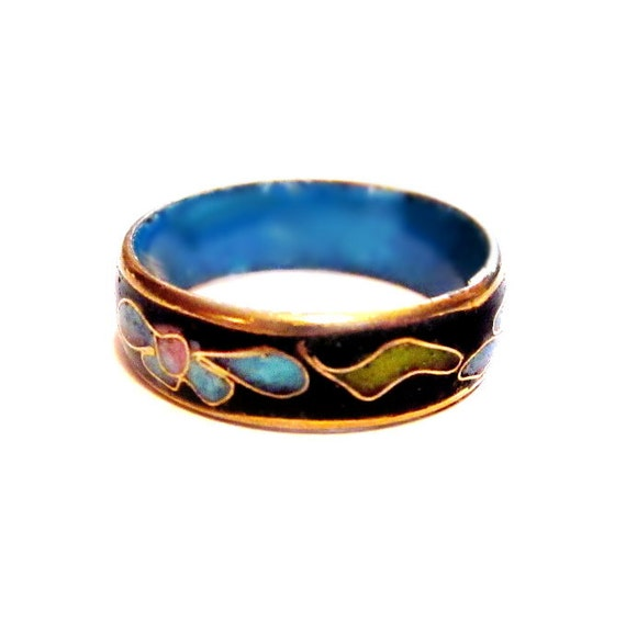 Vintage Enamel Ring Metal Cloisonne Band