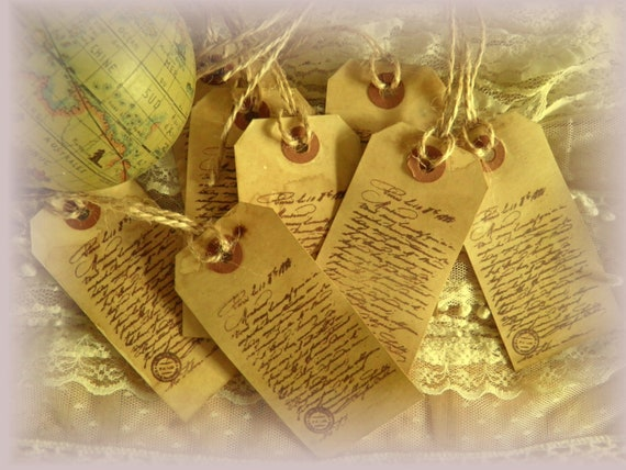 SET OF 8 Gift Tags  . . .  Old World French Script Hand Stamped Manila Shipping Tags - Jute Twine Ties