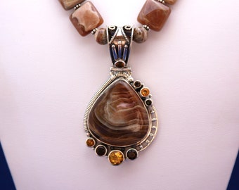Botswana Agate Pendant and Rhodochrosite Necklace, June Birthstone, 12th Anniversary, Unique Statement Necklace, Citrine, Topaz, Protection