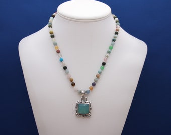 Multicolor Agate Necklace and Larimar Pendant, June Birthstone, 12th Anniversary, Single Strand Necklace, Unique Necklace, Versatile
