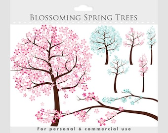Flowers tree clipart - spring clip art, flowering tree. whimsical, cute, sweet, pink, blue, cherry tree, blossoms, blossoming tree