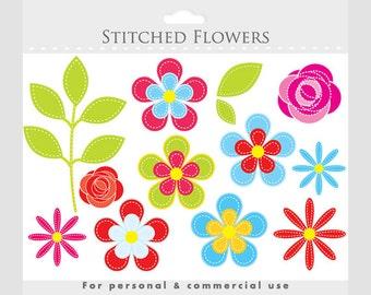 Flower clipart - floral clip art, floral clipart, flowers clip art, stitched flowers, fabric flowers, roses, daisies, leaves