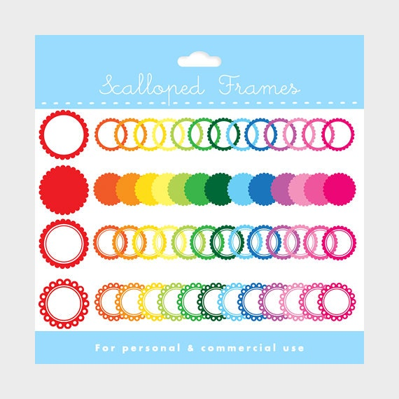Scalloped frames clipart - transparent and white frames for collage and photo works, for personal and commercial use
