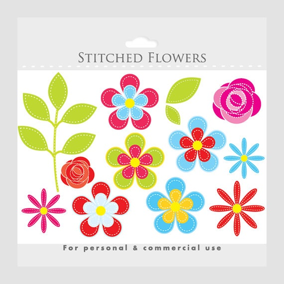 Flower clipart - floral clip art, floral clipart, flowers clip art, stitched flowers, fabric flowers, roses, daisies, leaves