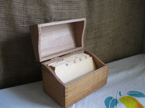 Vintage -  Wooden Recipe Box w/ Dividers