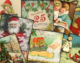 Digital Collage Sheet  Altered Art Slide Images  1.5 X1.5  Christmas Cards  (Sheet no.O195) Instant Download