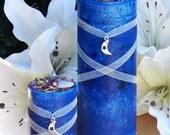 Blue Moon Celestial Lunar Alchemy Pillar Candle  2.5x6 . Full Moon Rites, Esbats, Evokation, Abundance, Peace, Balance