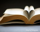 Book Love Photograph Photo - heart, library, story, tale, romantic, wedding, neutral, black and white - A Love Story - 8 x 10 Fine Art Print