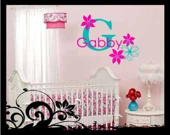 Personalized Name with Flowers - Vinyl Decal