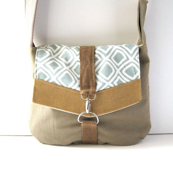 Satchel // Taupe Brown Tweed Canvas - Geometric Aqua Canvas - Rustic Mustard Yellow Vinyl // Ready to Ship