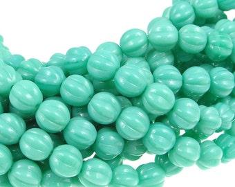 Turquoise Beads 8mm Pumpkin Beads Czech Glass Melon Beads Opaque Light Aqua Blue 8mm Round Beads Pressed Glass Beads