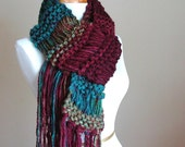 Teal Burgundy Knit Fringe Scarf, Knit Scarf, Knitted Scarf, Women's Scarf, Winter Scarf, Vegan Scarf, Original Design, Drop Stitch Scarf
