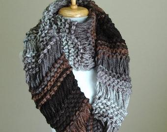 Black Gray Brown Knit Infinity Scarf, Chunky Scarf, Hand Knit Infinity Scarf, Women Scarves, Knitted Neck warmer, Vegan Scarf, Circle Scarf