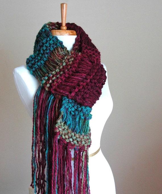 Teal Burgundy Knit Fringe Scarf, Knit Scarf, Knitted Scarf, Women's Scarf, Winter Scarf, Vegan Scarf, Original Design, Drop Stitch Scarf