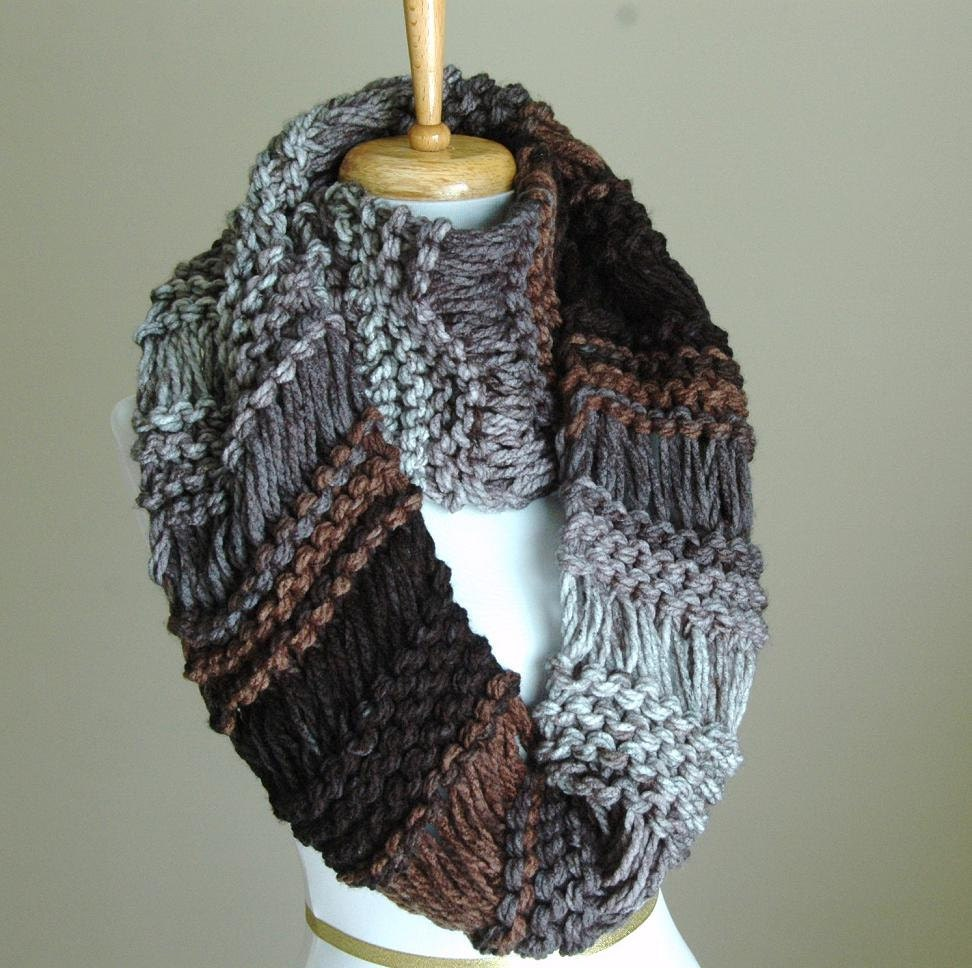 Black Gray Brown Knit Infinity Scarf Chunky Scarf Hand Knit