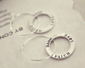Faith. Hope & Love. silver hoop earrings.
