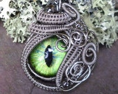 Gothic Steampunk Sable Evil Eye in Green