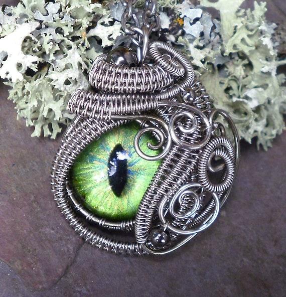 Gothic Steampunk Sable Evil Eye in Green