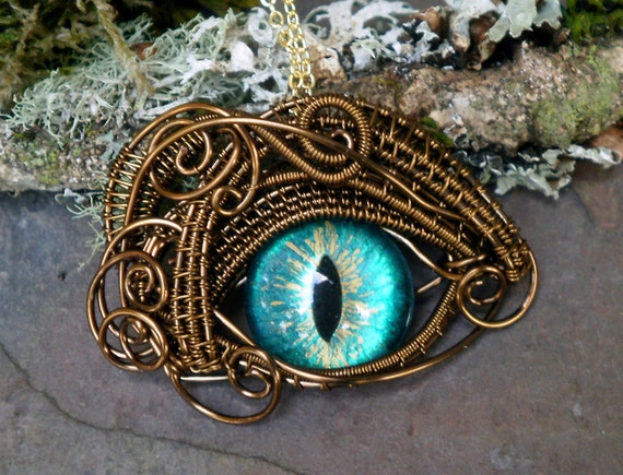 Gothic Steampunk Bronze Evil Eye Pendant Sea Blue and Gold