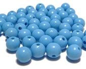 8mm Smooth Round Acrylic Beads in Cornflower Blue 50 beads