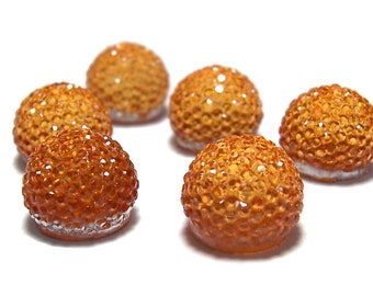 13mm flatback ball cabochon resin rhinestone half bead in Orange