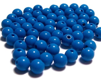 6mm Smooth Round Acrylic Beads in basic blue 100 pcs