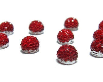 6mm flat back ball cabochon resin rhinestone half bead in Siam red
