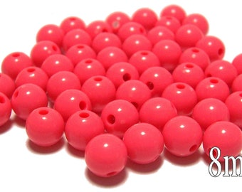8mm Smooth Round Acrylic Beads in Bright Coral 50 beads