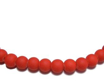 6mm Orange rubberized round beads 50pcs