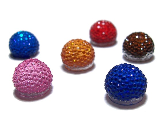 13mm flatback ball cabochon resin rhinestone half bead in sampler pack