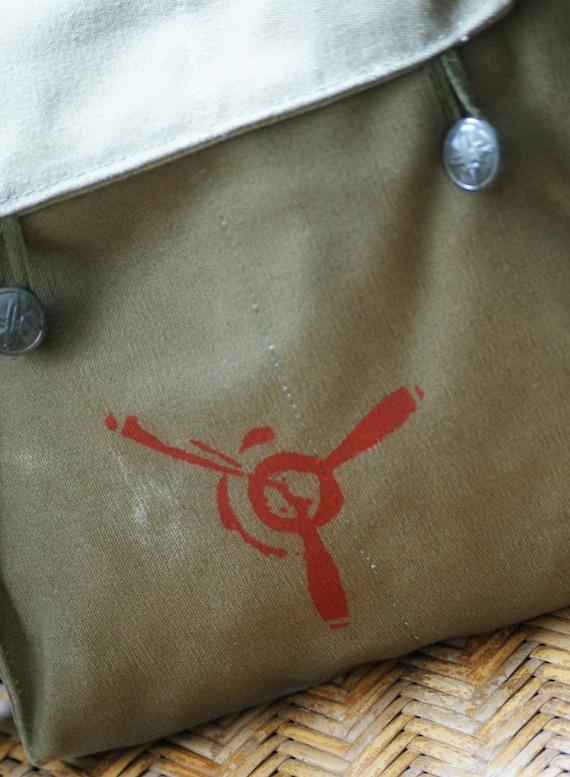 Vintage Czech Military Bag with Original Propeller Image
