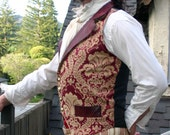 Burgundy and Gold Tapestry and Pleater Steampunk Victorian Lapeled Gentlemen's Vest