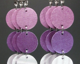 Paper Earrings in Grape, Plum and Lilac