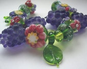 Handmade lampwork beads,  wine grapes and blossoms SRA UK