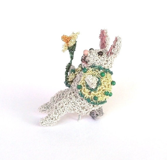 Rabbit brooch designed to sit on your shoulder, crochet wire bunny rabbit ON SALE
