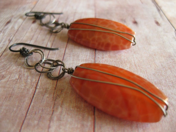 RINGS of FIRE - Fire Agate Gemstones Oxidized sterling silver wire wrapped  Earthy Vogue  Natural Glam