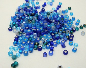24 grams Size 8/0 Japanese Glass Seed Beads Cool Blue Mix
