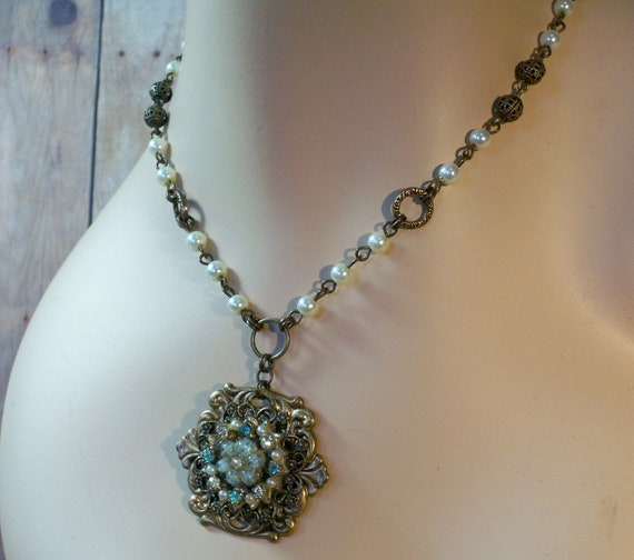 Repurposed Vintage Earring and Pearl Necklace - Vintage Glam