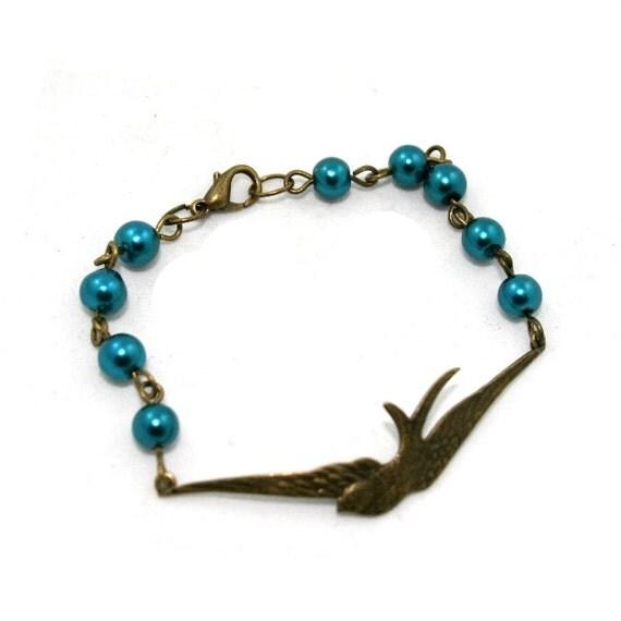 Teal Swallow Bracelet, Beaded Bird Bracelet