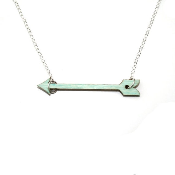 Mint Green Arrow Necklace Painted Wood Arrow by ...